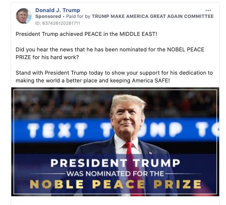 Trump Campaign Hails Nobel Peace Prize Nomination With An Awkward Typo