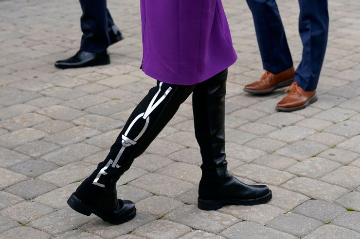 """Jill Biden wears boots bearing the word """"Vote"""" on them as she and her husband, Democratic presidential nominee Joe Biden, vot"""
