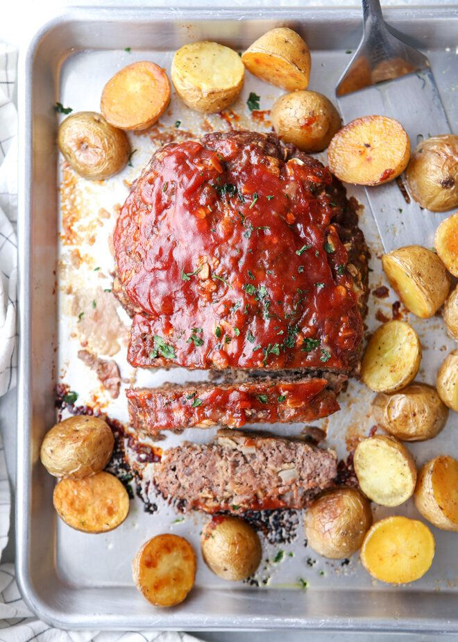 Meatloaf and Potatoes Sheet Pan Dinner from Completely Delicious