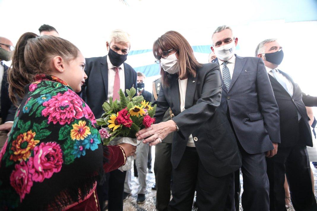 Στιγμιότυπο από την επισημη υποδοχή της Προέδρου της Δημοκρατίας, Κατερίνας Σακελλαροπούλου, στο Καστελλόριζο....