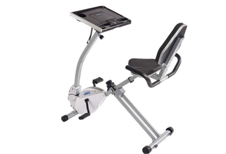 "Stamina 2-in-1 Recumbent Exercise Bike and Workstation, <a href=""https://www.dickssportinggoods.com/p/stamina-2-in-1-recumbent-exercise-bike-and-workstation-17smpustmn2n1rcmbbks/17smpustmn2n1rcmbbks"" target=""_blank"" rel=""noopener noreferrer"">$199</a>."