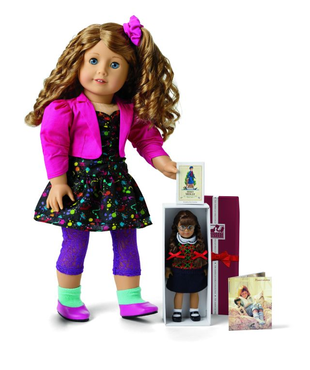 Courtney has her own mini version of the Molly American Girl doll.
