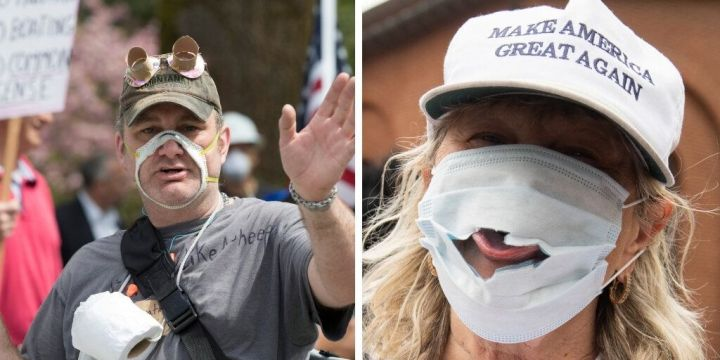In April, demonstrators in Washington state and Maryland wear damaged masks to protest mask guidelines and stay-at-home orders.