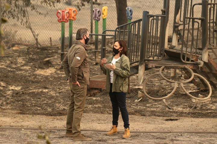 Harris meets with California Governor Gavin Newsom at the site of the Creek Fire in Auberry, California, Sept. 15.