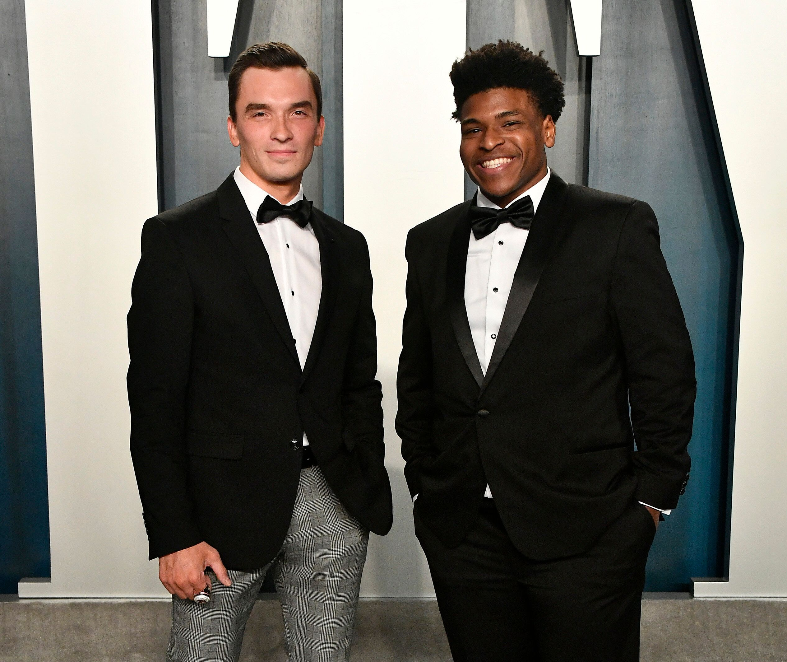 Jerry Harris (R) attends the 2020 Vanity Fair Oscar Party on Feb. 9 in Beverly Hills.