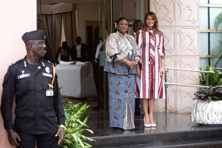 Melania Trump poses with Ghana's first lady Rebecca Akufo-Addo prior to their meeting at Jubilee House in Accra, Ghana, on Oct. 2, 2018.