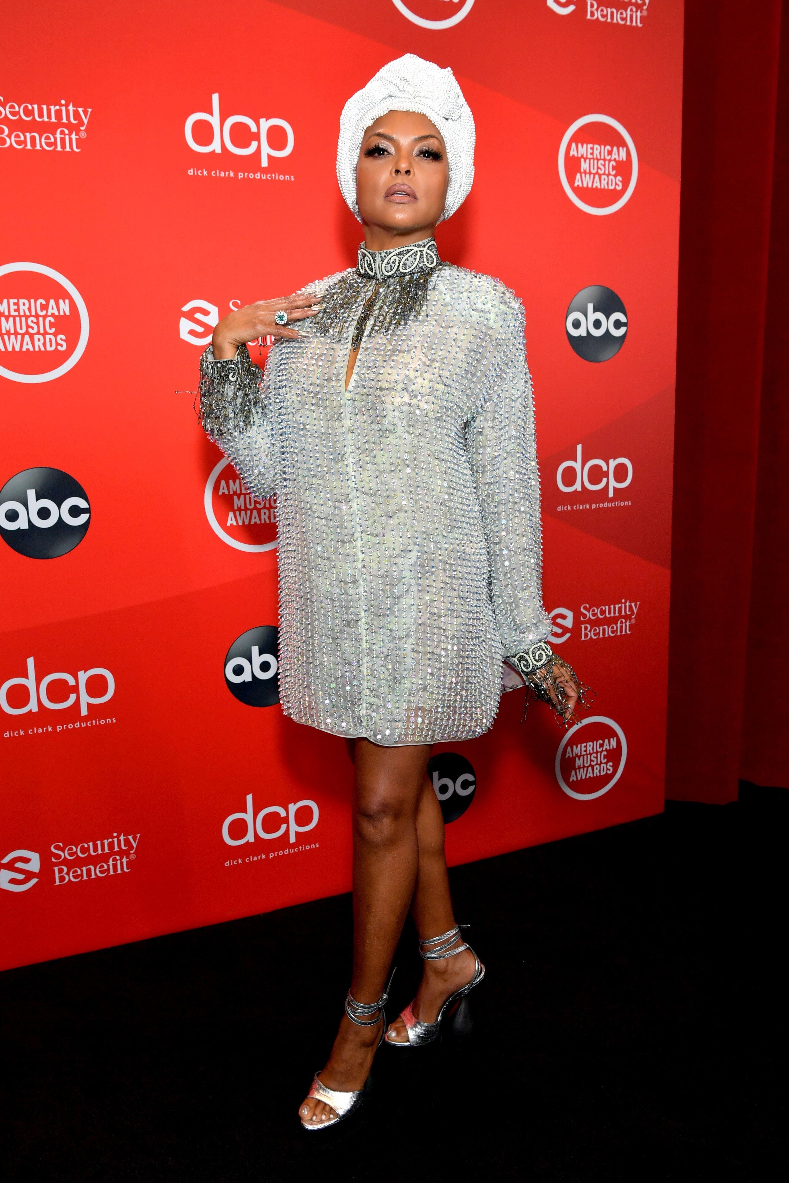 Show host Taraji P. Henson attends the 2020 American Music Awards at the Microsoft Theater on Sunday in Los Angeles, Californ