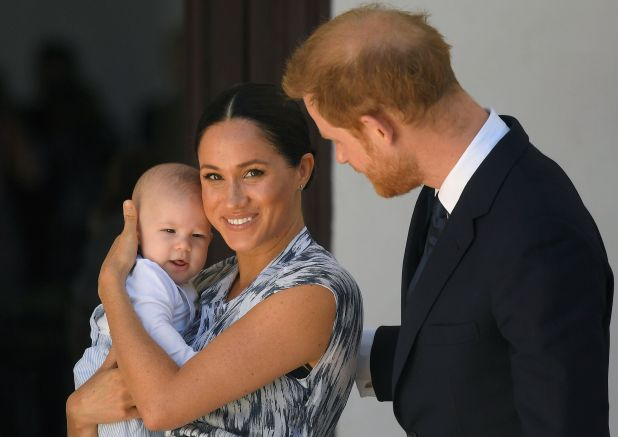 The Duke and Duchess of Sussex and their son Archie Mountbatten-Windsor in a meeting with Archbishop Desmond Tutu during