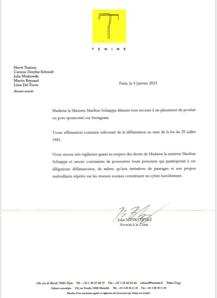 Communiqué de presse de Marlène Schiappa du 4 janvier