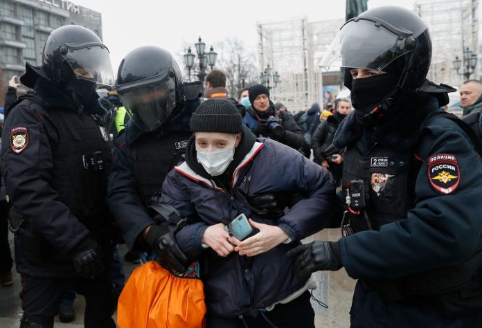 Police are detaining people at rallies across Russia who are protesting in support of Kremlin critic Alexei Navalny, the OVD-