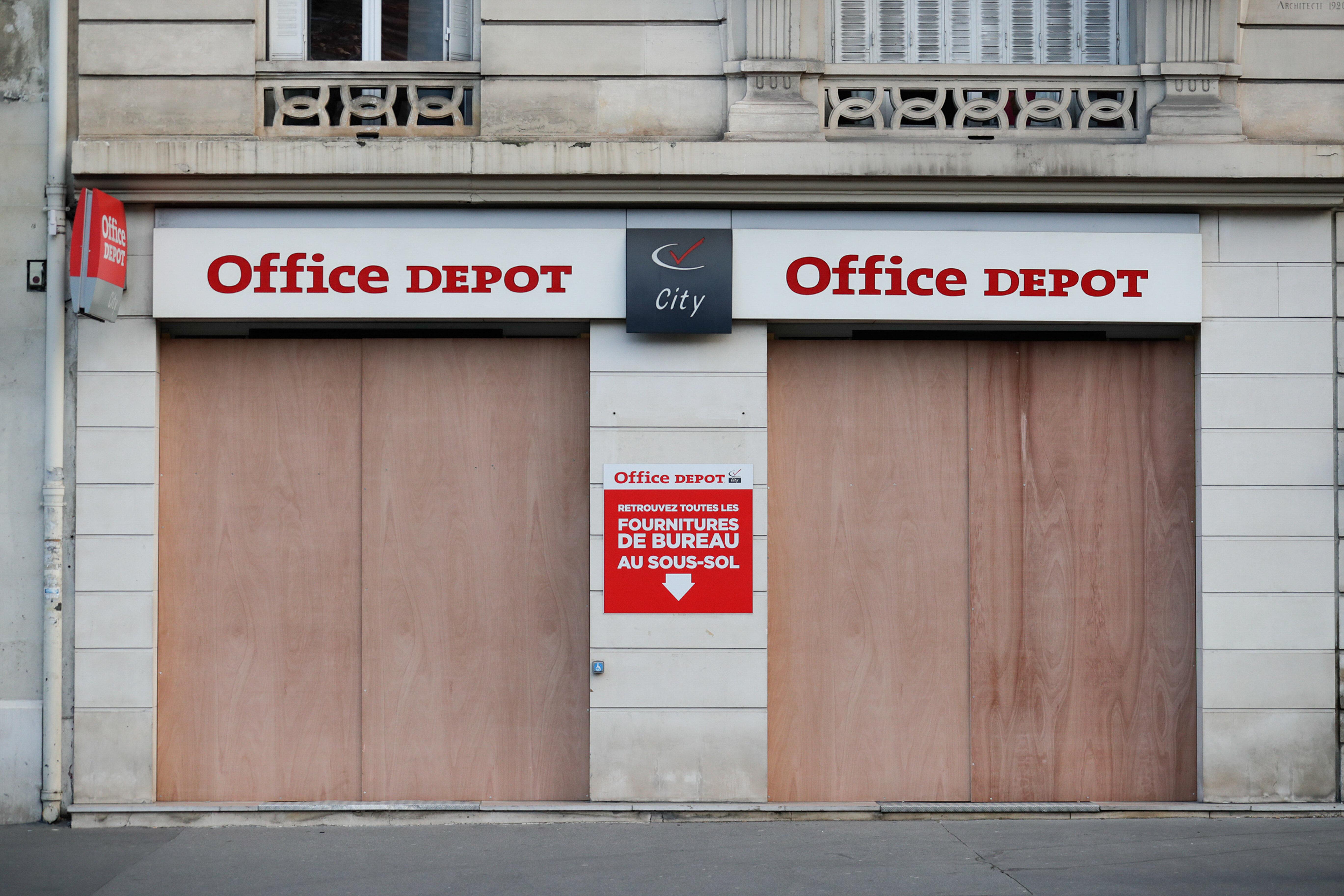 Un magasin Office Depot à Paris, alors que l'enseigne a annoncé ce 5 février 2021 sont placement en redressement