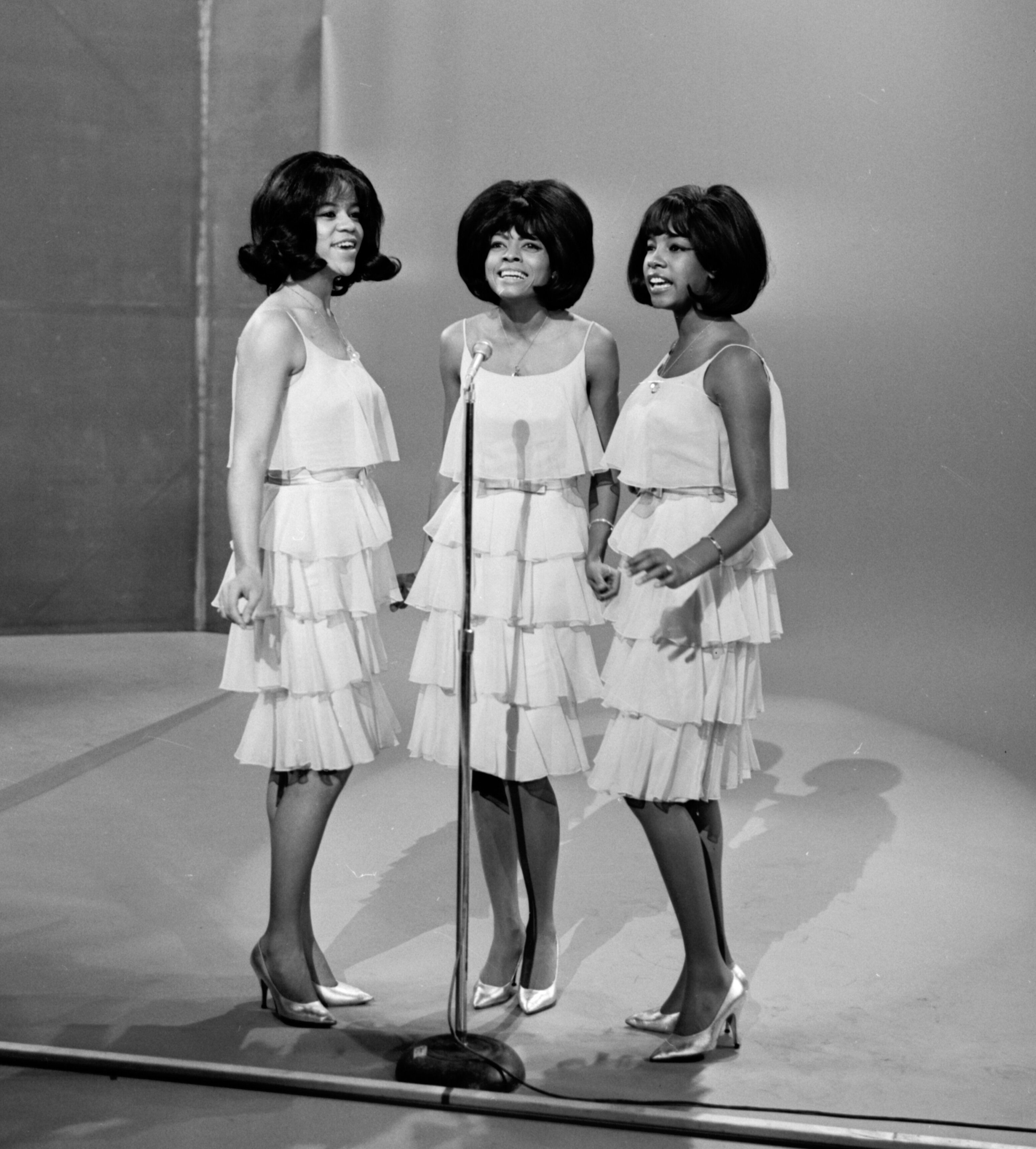 """The Supremes performed on """"The Ed Sullivan Show,"""" in 1964. From left: Florence Ballard, Diana Ross and Mary Wilson."""
