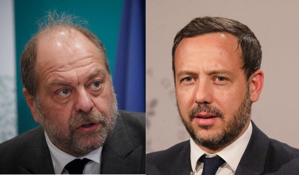 Le Garde des Sceaux Eric Dupond-Moretti et le secrétaire d'Etat chargé de l'Enface et des familles Adrien