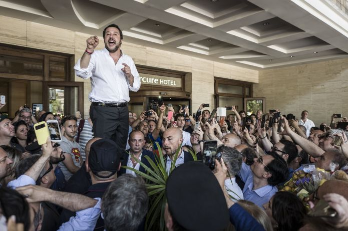 The then new Interior Minister Mateo Salvini on June 3, 2018, t.  Rallyed his supporters in the Sicilian port city of Catania, t.