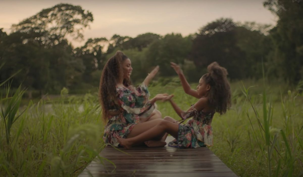Beyoncé and Blue Ivy playing together in the Brown Skin Girl