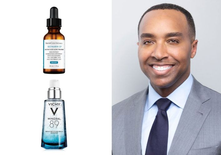 """Dr. Corey L. Hartman uses <a href=""""https://www.skinceuticals.com/silymarin-cf-3606000480681.html"""" target=""""_blank"""" rel=""""noopener noreferrer"""">SkinCeuticals Silymarin CF</a>&nbsp;and <a href=""""https://www.vichyusa.com/skin-care/skin-care-product-type/face-moisturizer/mineral-89-mineral89.html"""" target=""""_blank"""" rel=""""noopener noreferrer"""">Vichy Min&eacute;ral 89</a>."""