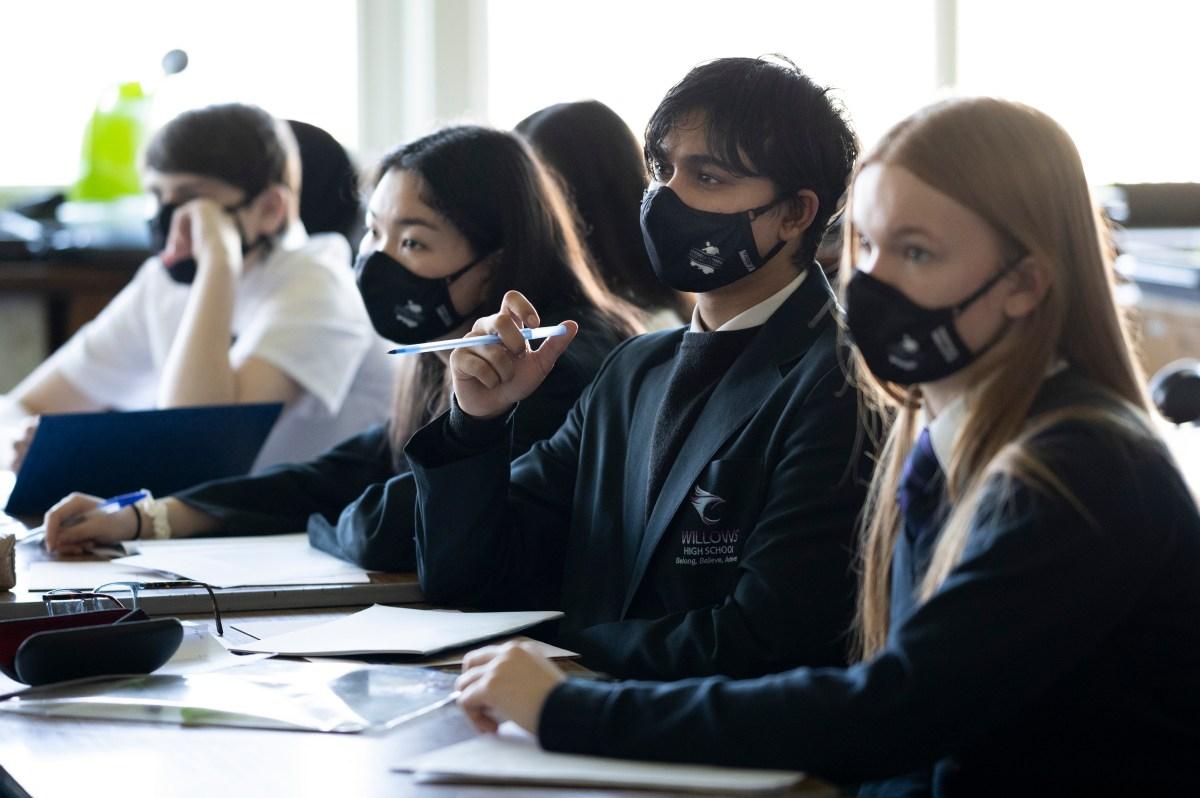 Schoolchildren in a lesson at a secondary school in Cardiff,
