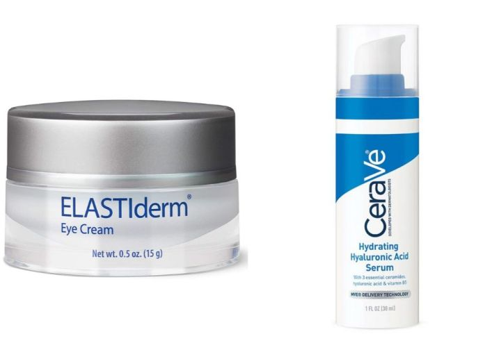 "Left to right: <a href=""https://www.obagi.com/medical/elastiderm-eye-cream"" target=""_blank"" rel=""noopener noreferrer"">Elastiderm Eye Cream</a>, <a href=""https://www.cerave.com/skincare/serums/hydrating-hyaluronic-acid-serum"" target=""_blank"" rel=""noopener noreferrer"">CeraVe Hydrating Hyaluronic Acid Serum</a>"