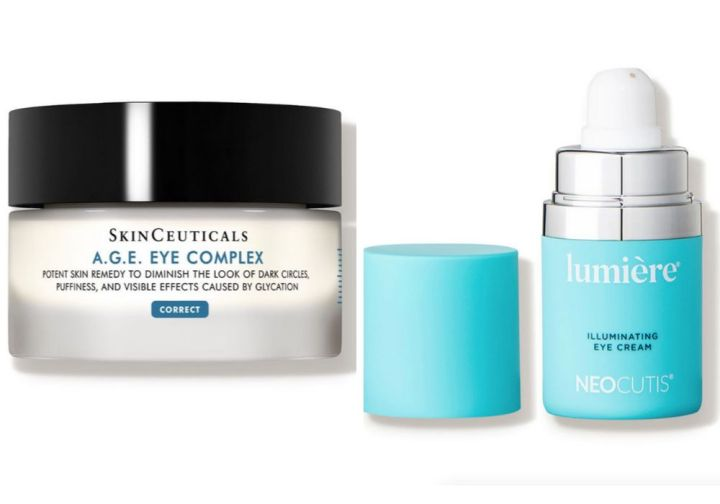 """Left to right: <a href=""""https://www.skinceuticals.com/a.g.e.-eye-complex-for-dark-circles-635494358001.html"""" target=""""_blank"""" rel=""""noopener noreferrer"""">SkinCeuticals A.G.E. Eye Complex</a>, <a href=""""https://www.neocutis.com/product/lumiere/"""" target=""""_blank"""" rel=""""noopener noreferrer"""">Neocutis Lumi&egrave;re Illuminating Eye Cream</a>"""