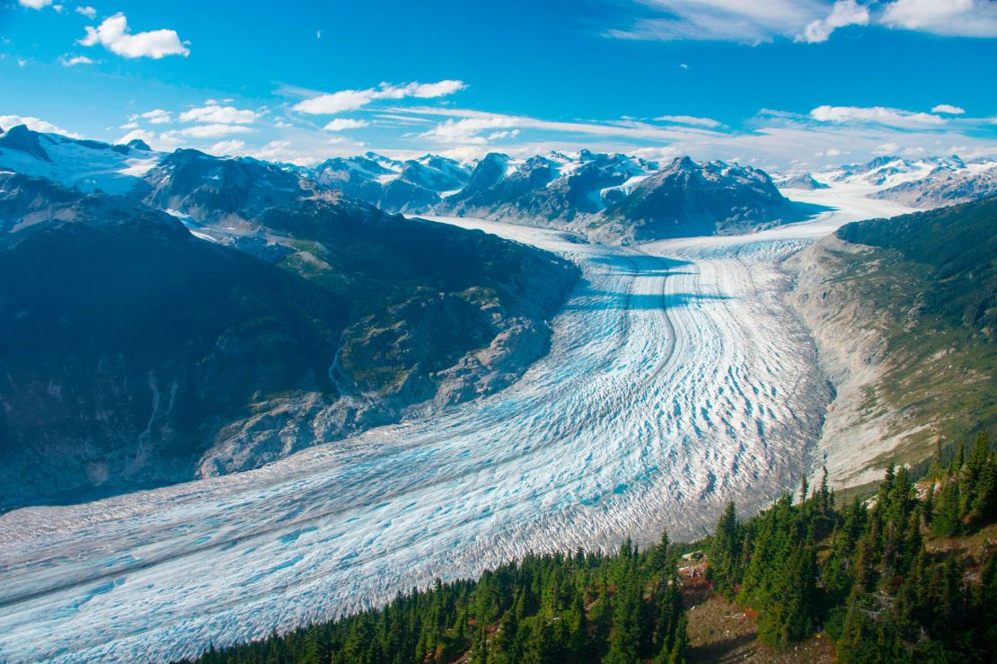 This September 2017 photo provided by researcher Brian Menounos shows the Klinaklini glacier in British Columbia, Canada. The
