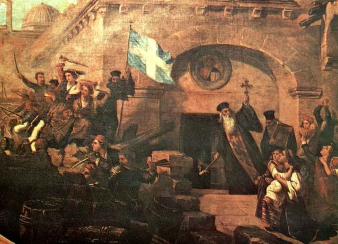 Το Ολοκαύτωμα της Μονής Αρκαδίου - Ελαιογραφία του Ιταλού ζωγράφου