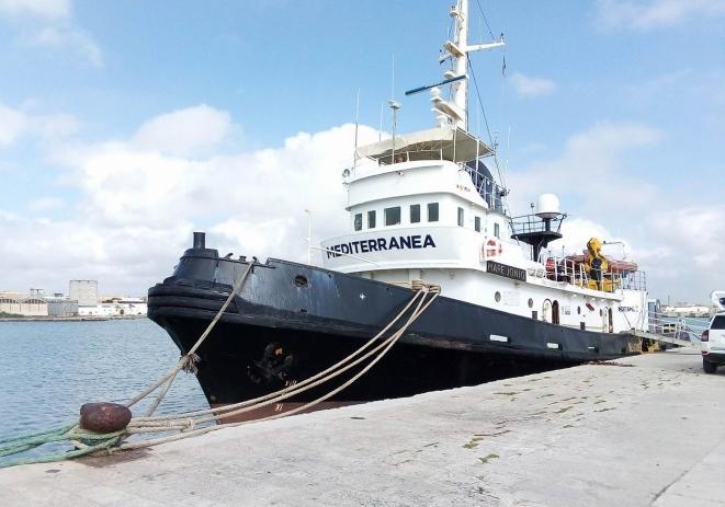 La nave Mare Jonio al porto di Marsala, 10 aprile 2019. ANSA