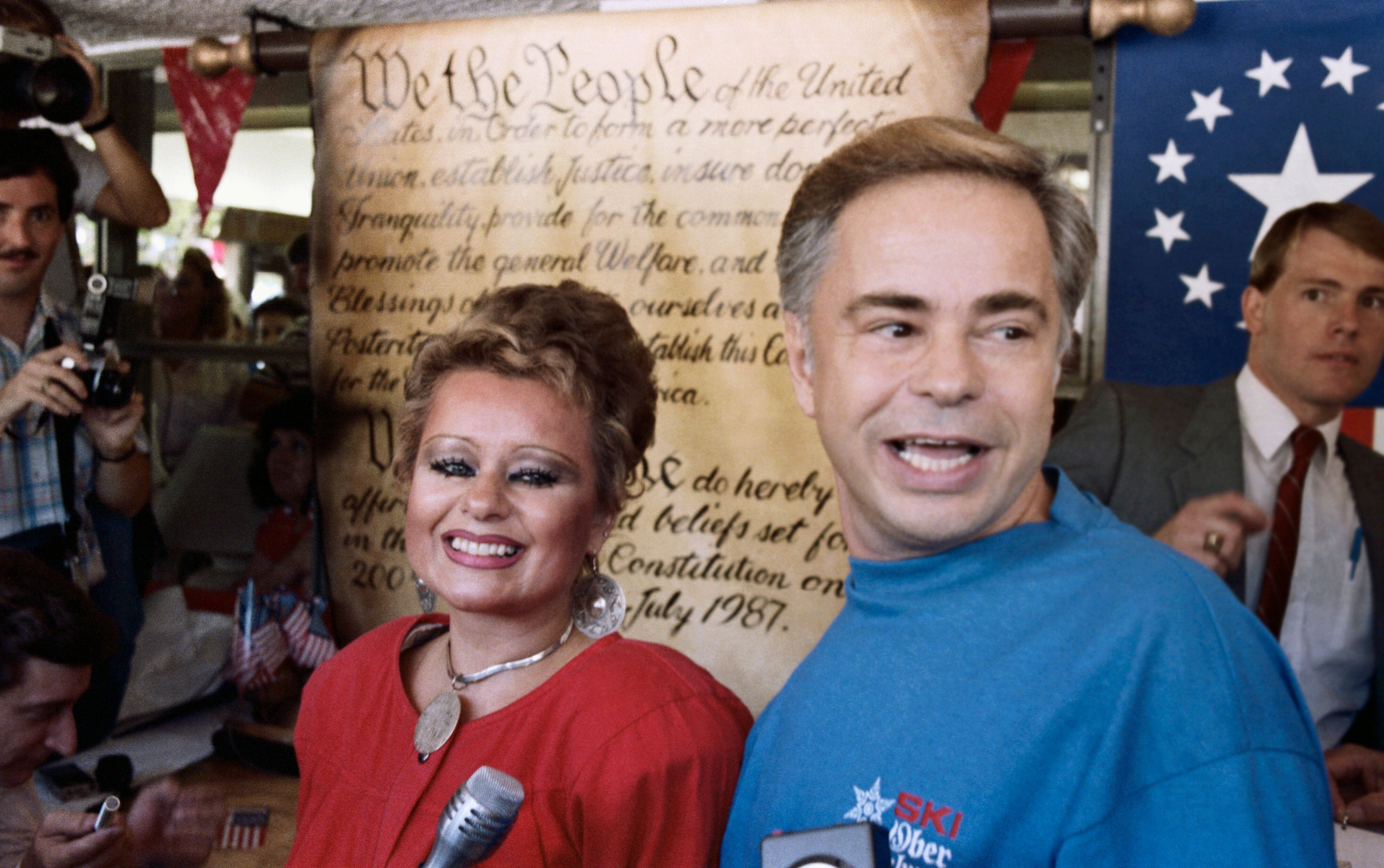 The real-life Jim (right) and Tammy Faye Bakker in 1987.