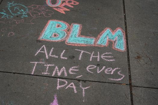 Chalked street art photographed at the Juneteenth celebration in the Greenwood District on June 19, 2020, in Tulsa, Oklahoma.