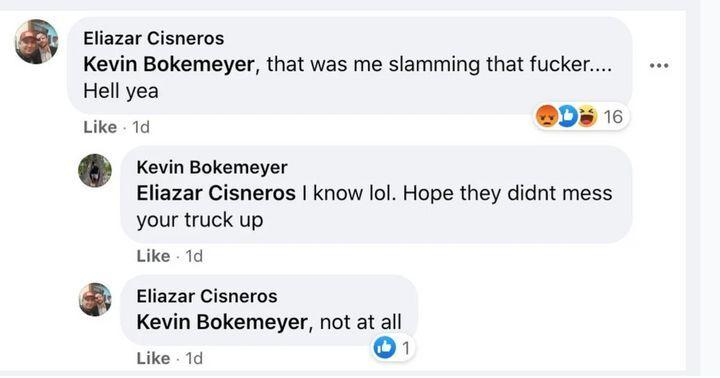 """Eliazar Cisneros's Facebook boast after a """"Trump train"""" chased down a Biden-Harris campaign caravan in Texas."""
