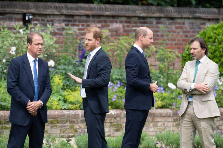 Guy Monson, a member of the statue committee, speaks with Harry. Meanwhile, the Duke of Cambridge speaks with garden designer