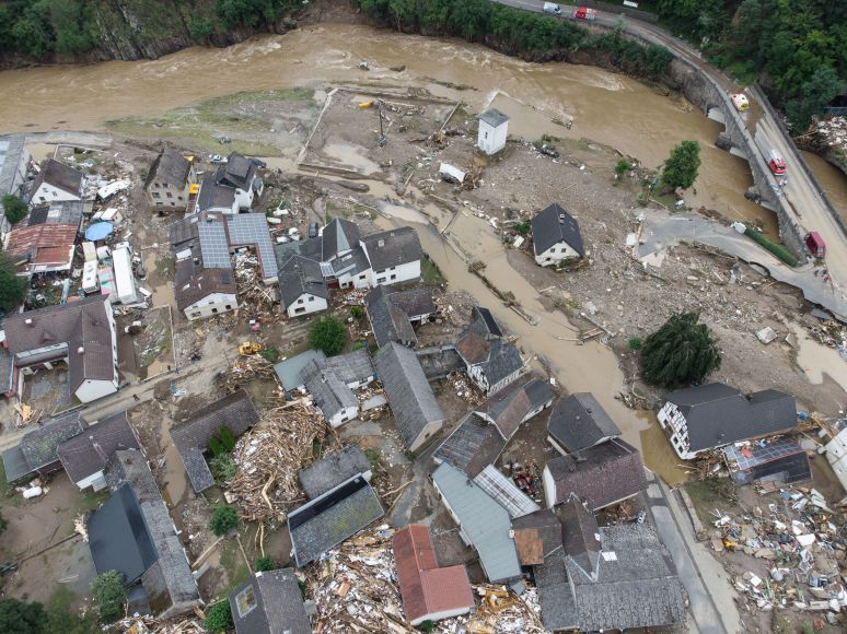 A village in the district of Ahrweiler is largely destroyed by flooding.