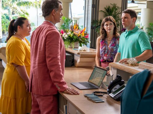 Lani and Armond try to assuage Shane (Jake Lacy), who is mad about not getting the resort's most extravagant suite on his hon