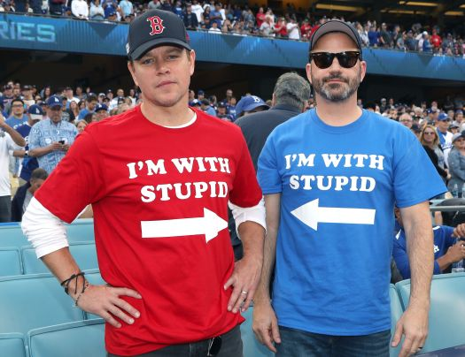 Matt Damon and Jimmy Kimmel attend Game 5 of the Boston Red Sox v. Los Angeles Dodgers World Series on Oct. 28, 2018, in Los