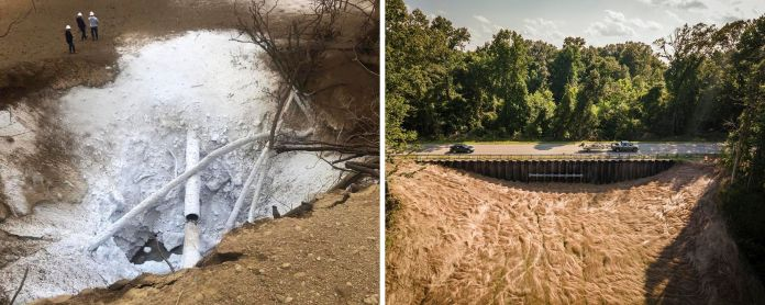 LEFT: The CO2 pipeline rupture. RIGHT: Vehicles pass over the pipeline explosion site in Satartia in July.<br /><strong>Yazoo County Emergency Management Agency/Rory Doyle for HuffPost</strong>