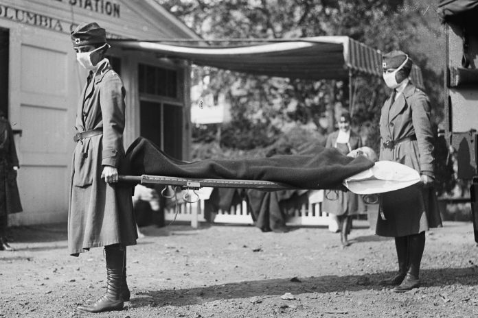 This photo made available by the Library of Congress shows a demonstration at the Red Cross Emergency Ambulance Station in Wa