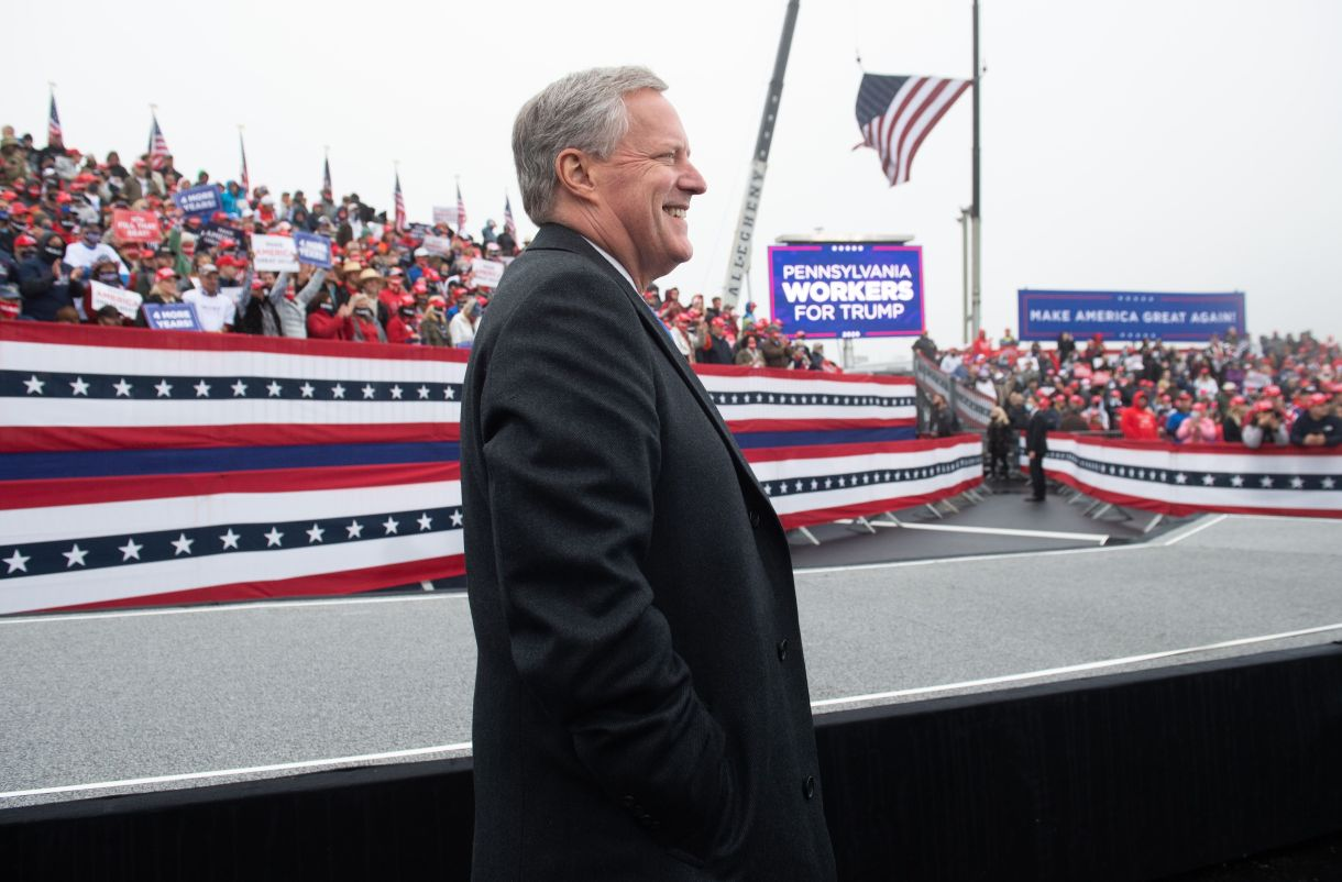 White House Chief of Staff Mark Meadows attends a Make America Great Again campaign rally at Lancaster Airport in Lititz, Pen