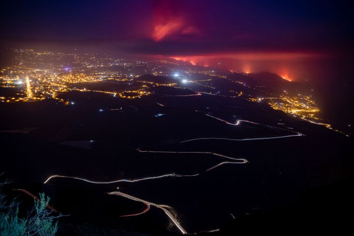 Lava flows from the Cumbre Vieja volcano towards the Atlantic Ocean on Sept. 28, 2021, in in La Palma, Canary Islands, Spain.