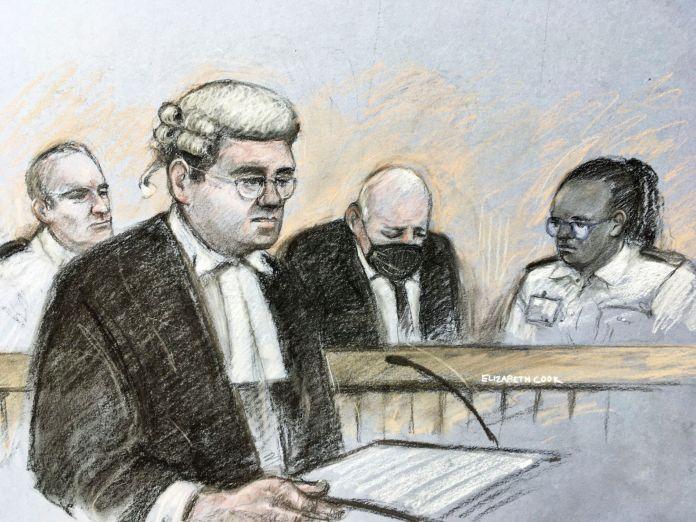 This court artist sketch by Elizabeth Cook shows prosecutor Tom Little QC speaking as former Metropolitan Police officer Wayn