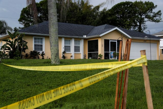 Police tape is seen outside the Laundrie family home in September.