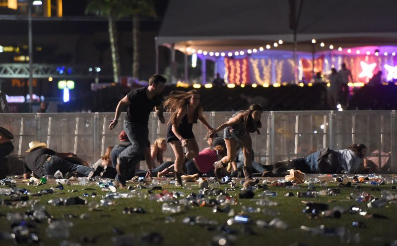 People flee from theRoute 91 Harvest country music festival after gunfire was heard.