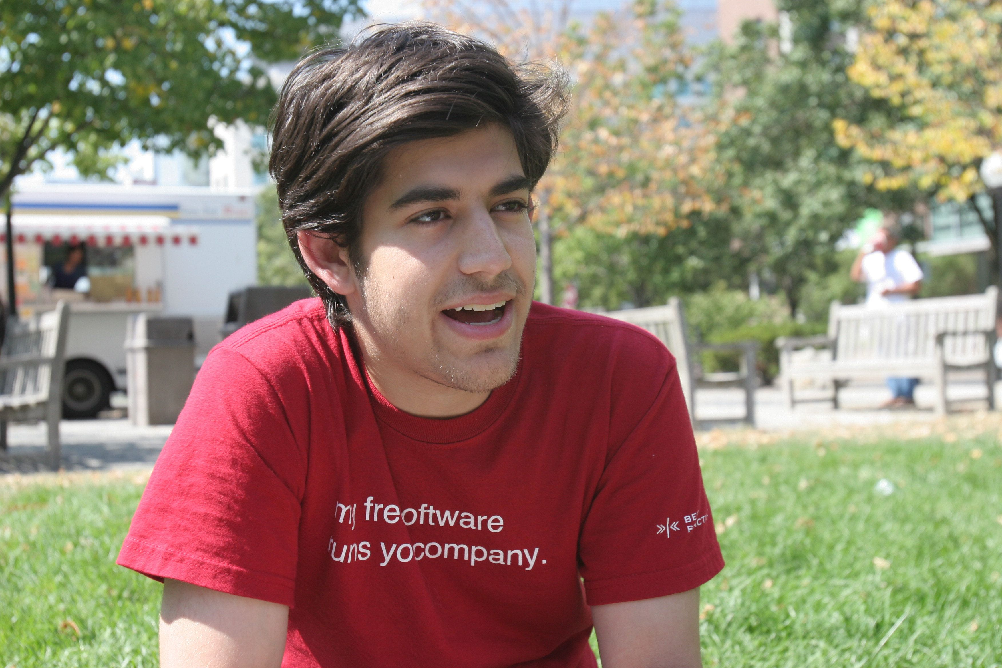 "<span class='image-component__caption' itemprop=""caption"">Aaron Swartz sits outside in Cambridge, Friday, Aug. 31, 2007. (Photo by Wendy Maeda/The Boston Globe via Getty Images)</span>"