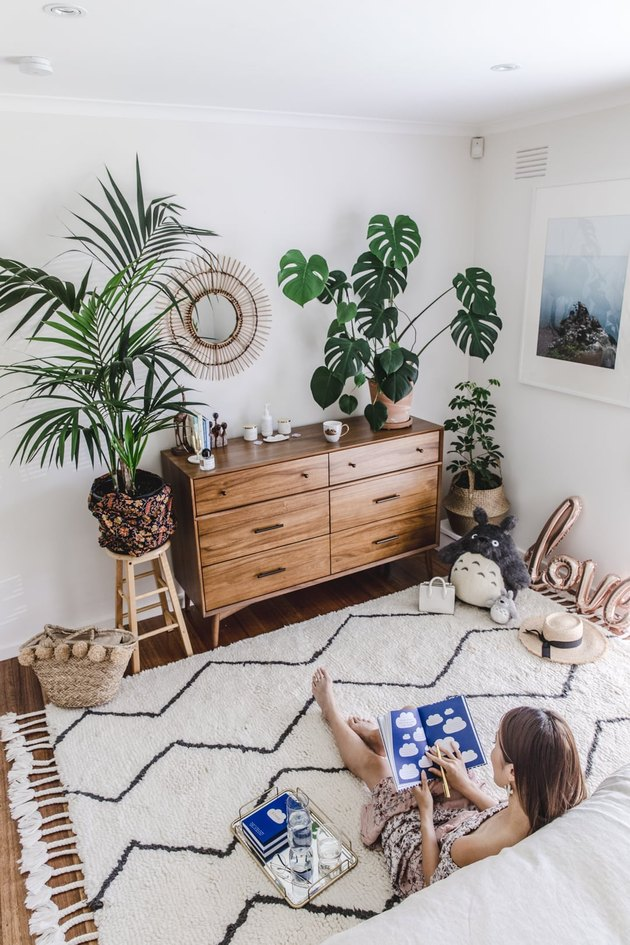 bedroom rug ideas with a rug and many plants