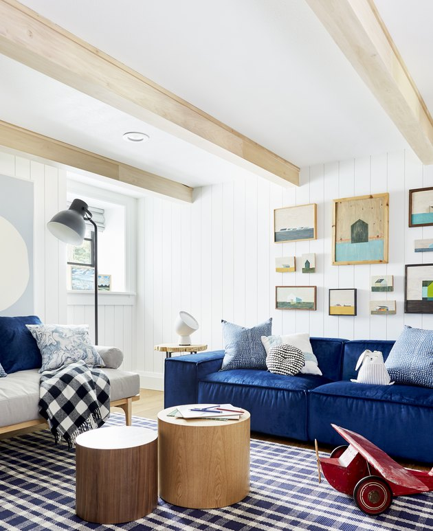 Pantone Color of the Year Classic Blue sofa in playroom