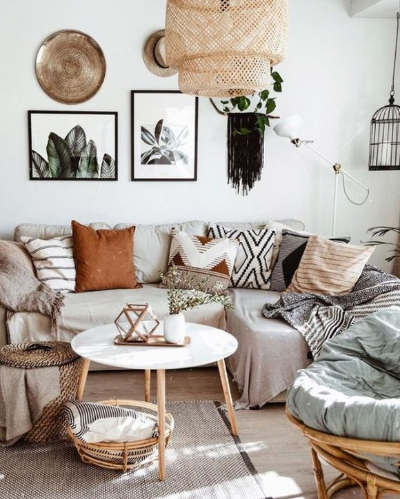 bohemian living room lighting idea with woven pendant light from IKEA