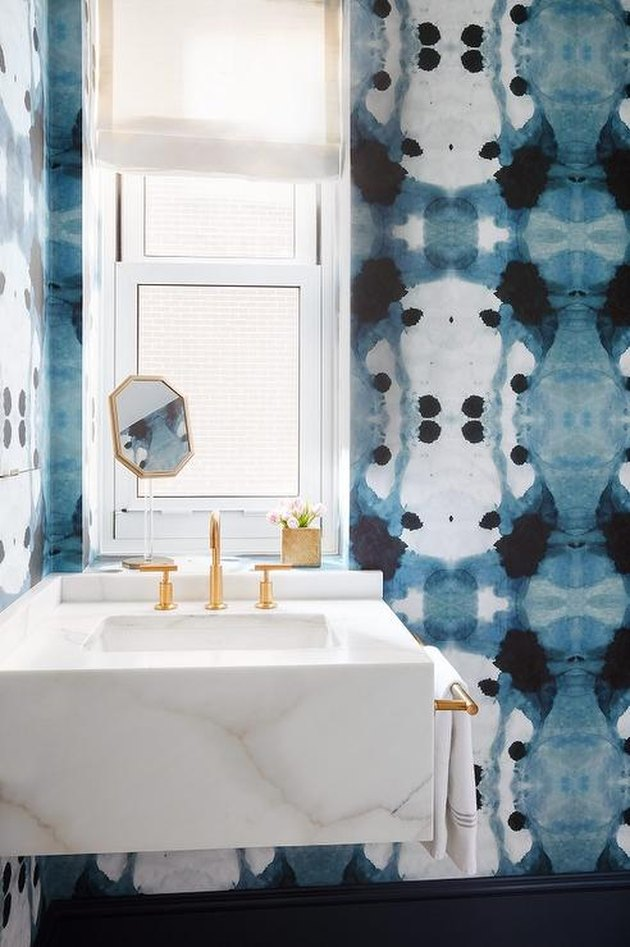 small bathroom wallpaper with watercolor pattern