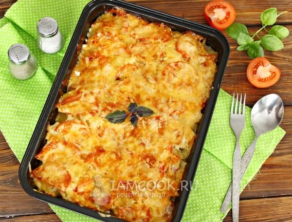 Фото мяса по-французски с картошкой и помидорами