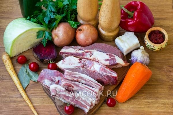 Украиналық қопсытқыштарға арналған ингредиенттер