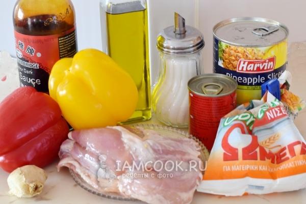 पेकिंग में चिकन के लिए सामग्री