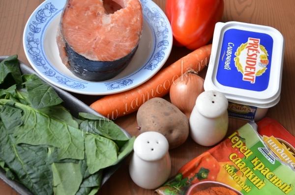 Ингредиенты для сырного супа с семгой