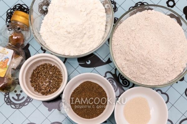 Ингредиенты для домашнего Бородинского хлеба